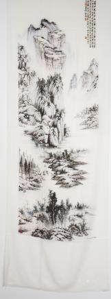 A 'LANDSCAPE' SCARF PAINTED BY SHI MINGMING
