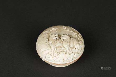 A CARVED PORCELAIN INK BOX WITH 'QIANLONG' MARK, QING DYNASTY