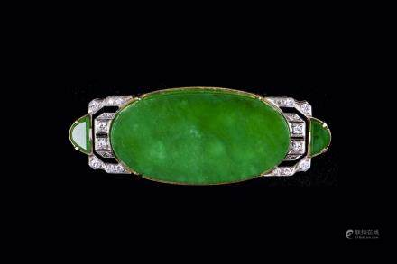 A JADEITE JADE DIAMOND BROOCH WITH GIA REPORT