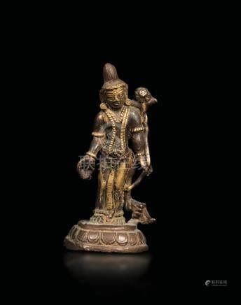 A gilt bronze Avalokitesvara figure, Nepal/Tibet,
