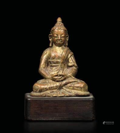 A gilt bronze Amitayus figure, Tibet, 13th-14th century