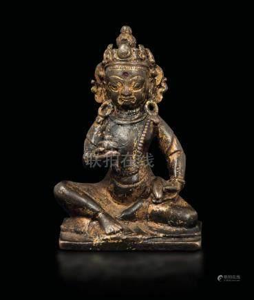 A small semi-gilt bronze figure of Amitayus, Tibet,