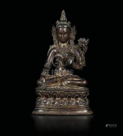 A semi-gilt bronze Amitaya seated on a double lotus