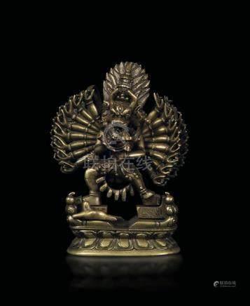 A bronze figure of Vajrabhairava on a double lotus