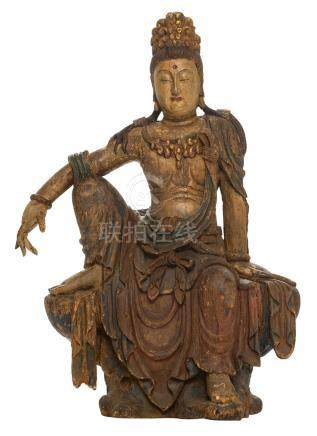 A Chinese carved wooden polychrome and gilt decorated Guanyin, seated in 'Lalitasana', Song type, probably Ming, H 93,5 cm