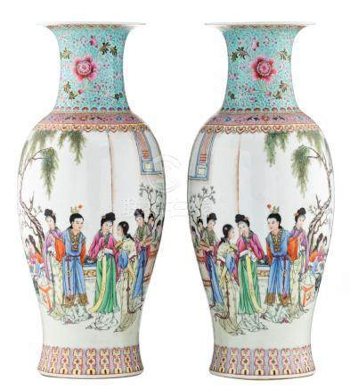 A pair of Chinese famille rose baluster shaped vases, decorated with a gallant garden scene and a calligraphic text, with a four character mark, H 59,5 cm