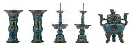 A miniature set of Chinese cloisonné enamel vases, candle sticks and an incense burner, 19thC, H 13 - 16 cm