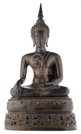 A fine Oriental bronze seated Buddha on a matching lotus base, probably Thailand, 19thC, H 76 cm