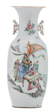 A Chinese famille rose vase, decorated with officials, their guards on a shore and calligraphic texts, H 57,5 cm