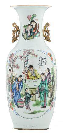 A Chinese famille rose vase, one side decorated with an animated scene, the other side with a bird on a flower branch, with calligraphic texts, signed, H 58 cm