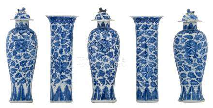A five-piece Chinese blue and white floral decorated garniture with a Xuande mark, H 25,5 - 28,5 cm