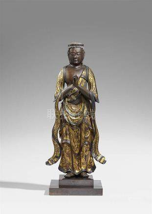 A gilt and lacquered wood figure of Seishi Bosatsu. Late Edo