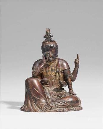 A wood figure of Nyorin Kannon Bosatsu. 19th century