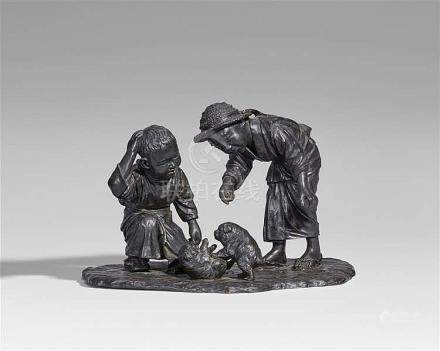 A Seiya bronze group of two boys. Late 19th century