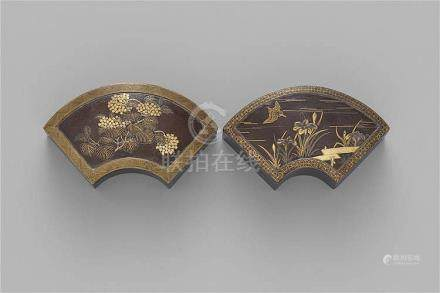 Two fan-shaped Komai iron lidded boxes. Late 19th century