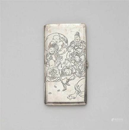 A large silver cigarette case. Early 20th century