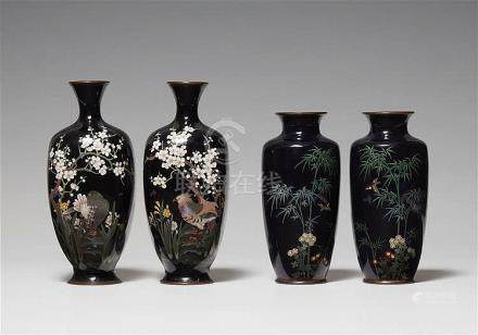 Two pairs of cloisonné enamel vases. Late 19th century