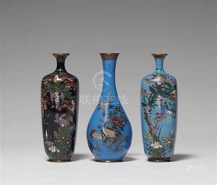 Three small cloisonné enamel vases. Late 19th century