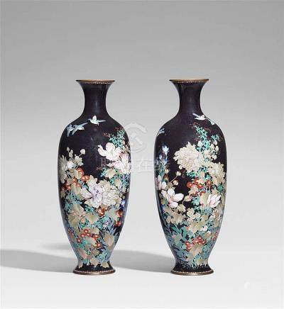 A pair of large cloisonné enamel vases. Late 19th century