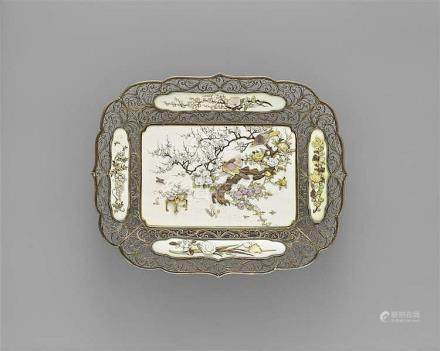 An ivory and silver Shibayama tray. Late 19th century