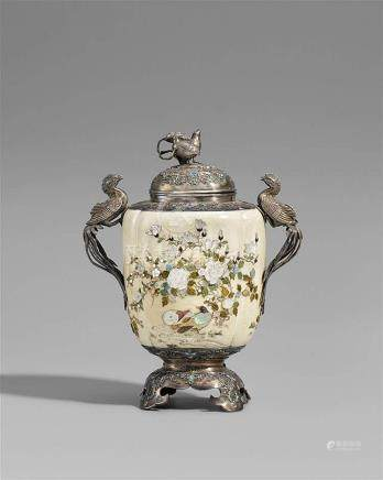 A silver and ivory Shibayama lidded jar. Late 19th century