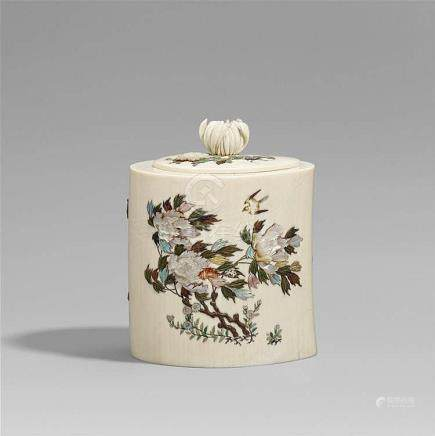A Shibayama ivory box. Late 19th century