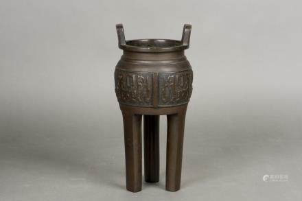 A BRONZE TRIPOT CENSER, 19TH CENTURY
