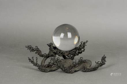 A BRONZE SCULPTURE  WITH A CRYSTAL BALL, 20TH CENTURY