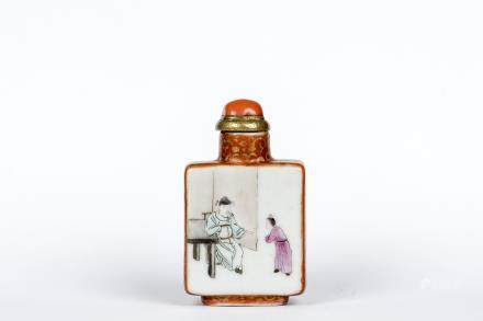 A COPPER-RED DECORATED PORCELAIN SNUFF BOTTLE