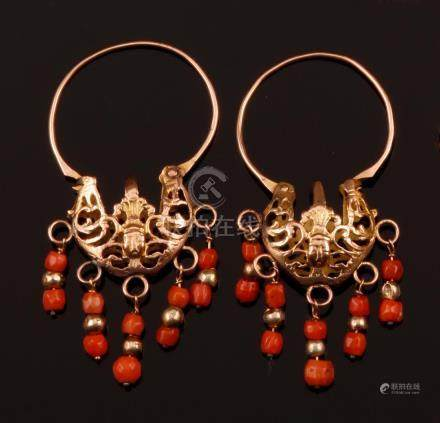 Pair of coral and gold pendent earrings