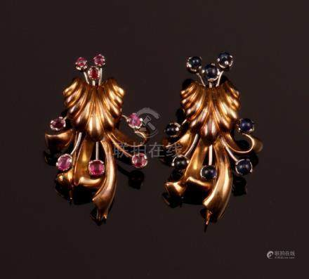 Two ruby and sapphir clip brooches