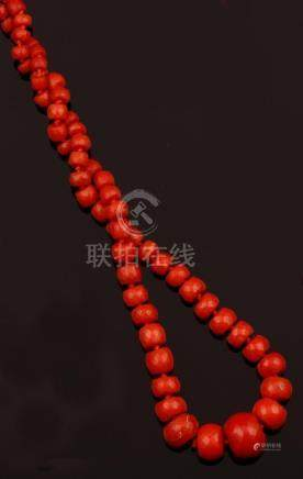 Graduated coral beads necklace with gold clasp