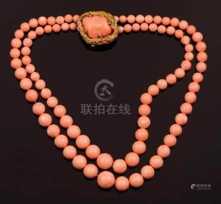 Coral necklace. Signed Bulgari