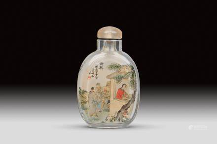 A INSIDE-PAINTED CRYSTAL SNUFF BOTTLE, REPUBLIC PERIOD