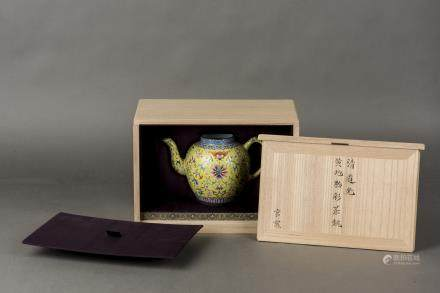 A YELLOW GROUND FAMILLE ROSE TEAPOT, QING DYNASTY, DAOGUANG PERIOD