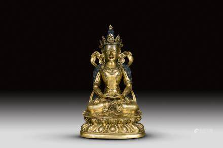 A GILT-BRONZE SCULPTURE OF AMITAYUS, QING YONGZHENG