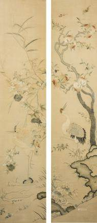 A PAIR OF 'CRANE AND FLOWER' EMBROIDERY WITH FRAME, QING DYNASTY