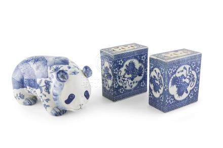 A PAIR OF MODERN CHINESE BLUE AND WHITE FLOWER BRICKS. Each 13cm high; together with a modern