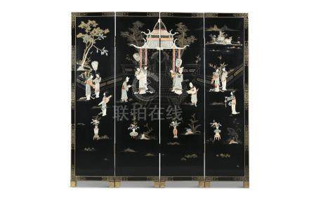 A JAPANESE FOUR FOLD LACQUERED SCREEN, 20th century, decorated with an overall garden scene with