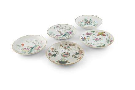 A COLLECTION OF FIVE CHINESE FAMILLE ROSE SAUCER DISHES, 19th century, varying in design, each
