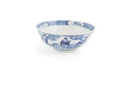 A CHINESE BLUE AND WHITE PORCELAIN BOWL, with Kangxi mark but of 19th century date, the exterior