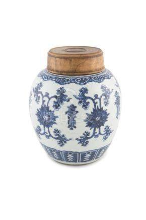 A CHINESE BLUE AND WHITE GINGER JAR AND COVER, 19th Century, the ovoid body painted with cross-hatch