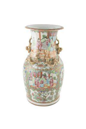 A CHINESE EXPORT 'CANTON' VASE, 19th century, of baluster shape, with flared rim and gilt side