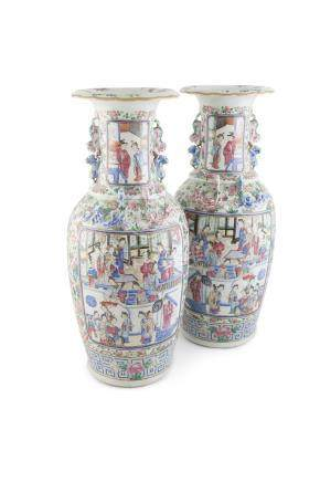 A LARGE PAIR OF CHINESE FAMILLE ROSE CANTON VASES, 19th century, each potted with baluster shape