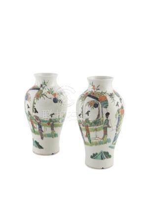 A PAIR OF CHINESE FAMILLE VERTE BALUSTER VASES, with six character Kangxi mark, the short waisted