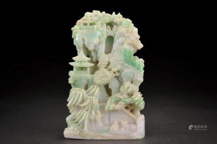 CARVED JADEITE 'PAVILION SCENE' DECORATIVE SHANZI
