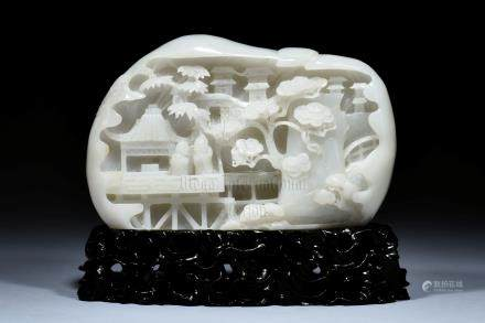 WHITE JADE PIERCE CARVED BOULDER, SHANZI