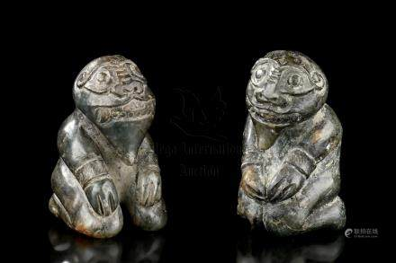 PAIR OF JADE CARVED 'PEOPLE' FIGURES