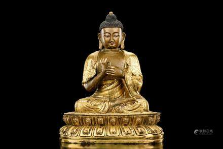 GILT BRONZE FIGURE OF SHAKYAMUNI BUDDHA