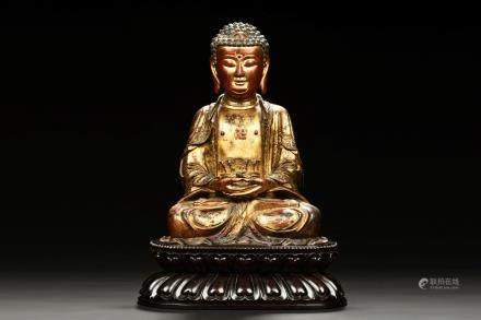 GILT BRONZE SEATED SHAKYAMUNI BUDDHA